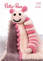 Knitting Pattern - Peter Pan P1302 - Precious Chunky - Bobble Edge Blanket and Caterpillar