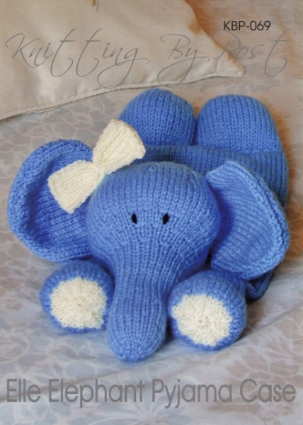 Cottontail crafts elephant pyjama case knitted toy by knitting by post chunky yarn - Pyjama elephant ...