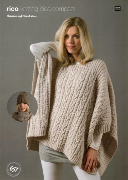 Cottontail Crafts Knitting Pattern 657 Poncho Snood Hat In