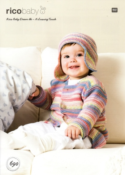 Cottontail Crafts - Knitting Pattern 690 - Jacket and Hat for Baby ...