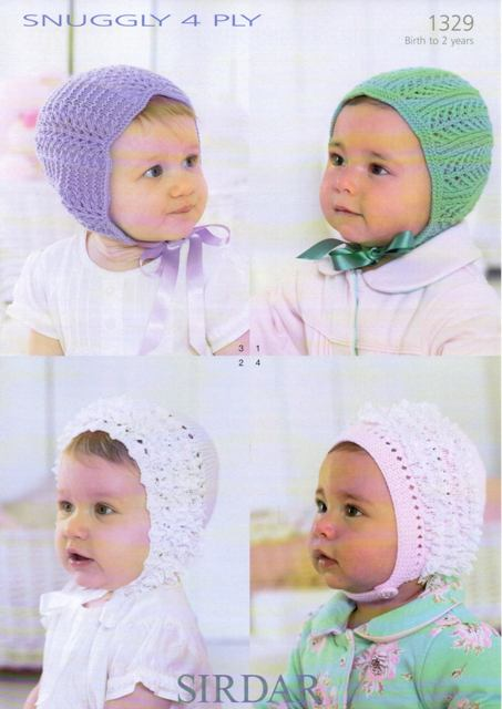 Cottontail Crafts Knitting Pattern 1329 Babies Bonnets In Sirdar