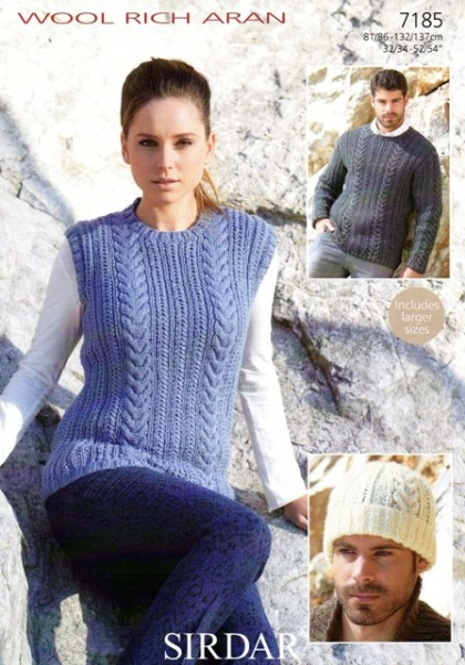 Cottontail Crafts Knitting Pattern 7185 Tank Sweater Hat In
