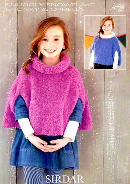Cottontail Crafts Knitting Pattern 2445 Girls Cape In Chunky Yarn