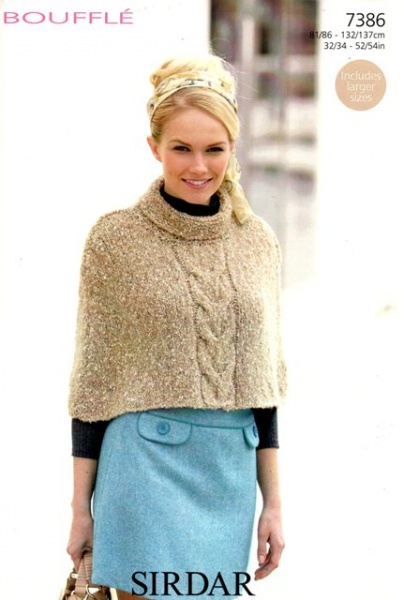 Cottontail Crafts Sirdar Knitting Pattern 7386 Cape
