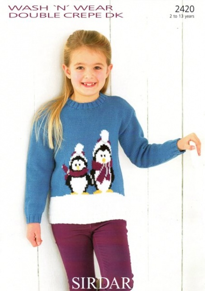 Cottontail Crafts Sirdar Knitting Pattern 2375 Snowman Sweater