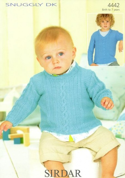 Cottontail Crafts Knitting Pattern 4442 Babys Boys Sweaters