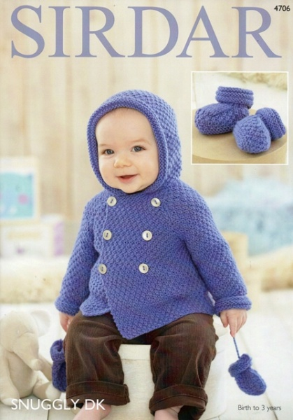 Cottontail Crafts Sirdar Knitting Pattern 4706 Baby Boys Coat