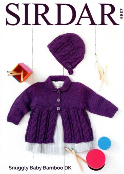 Cottontail Crafts Sirdar Knitting Pattern 4937 Cardigan Bonnet