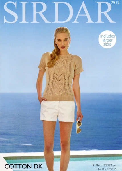 Cottontail Crafts Sirdar Knitting Pattern 7912 Womans Tops In