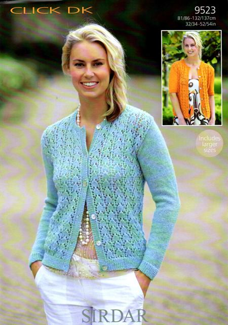 Cottontail Crafts Knitting Pattern Sirdar 9523 Click Dk Cardigan