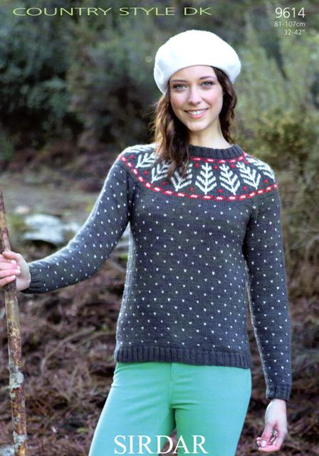 Style Knitting Patterns : Cottontail Crafts - Knitting Pattern 9614 - Sweater in Sirdar Country Style D...