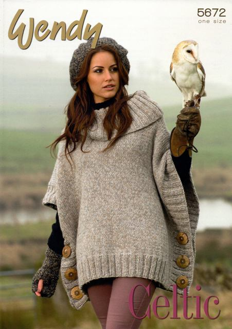 Cottontail Crafts - Knitting Pattern 5672 - Poncho, Beret & Mitts ...
