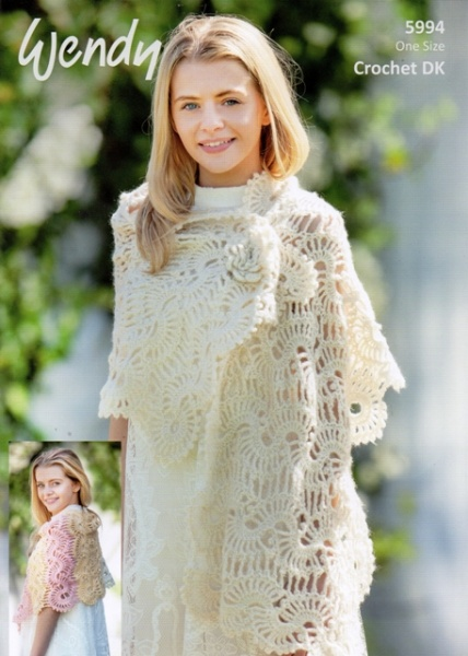 Knitting Patterns For Lace Stoles : Cottontail Crafts - Wendy Knitting Pattern - 5994 - Lace Stole - Fleur DK