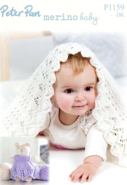 Peter Pan Baby Knitting Patterns : Cottontail Crafts - Knitting Pattern P1159 - Blanket & Teddy in Peter Pan...