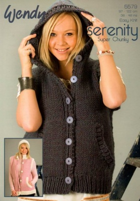 Easy Gilet Knitting Pattern : Cottontail Crafts - Knitting Pattern 5579 - Gilet in Wendy Serenity Super Chu...