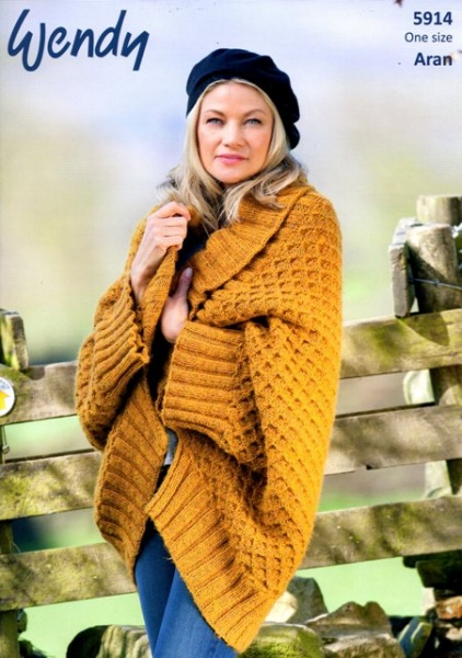 Cottontail Crafts Wendy Knitting Pattern 5914 Shawl Collar Wrap