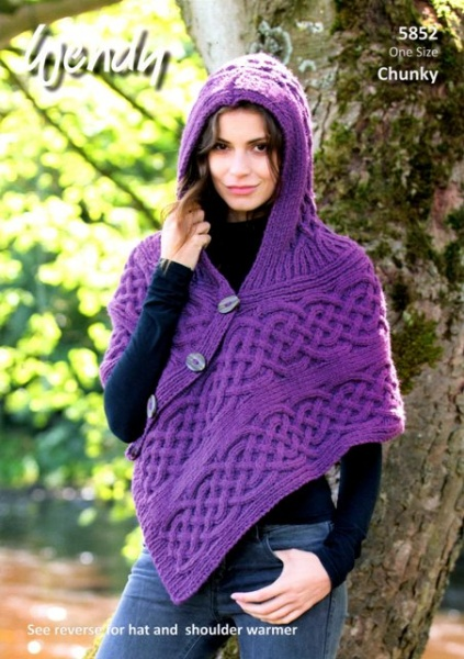 Cottontail Crafts - Wendy Knitting Pattern 5852 - Hooded Poncho, Hat ...