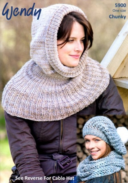 Cottontail Crafts Wendy Knitting Pattern 5900 Hooded Cowl Open