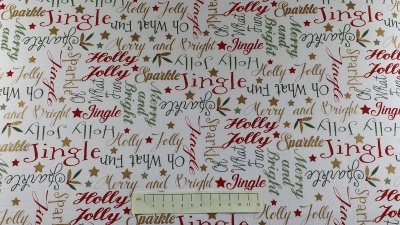 Fabric by the Metre - Shimmer and Sparkle -Xmas Sentiments