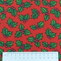 Fabric by the Metre - 856 Christmas Holly - Red