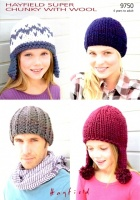 Knitting Pattern - Hayfield 9750 - Super Chunky With Wool - Hats