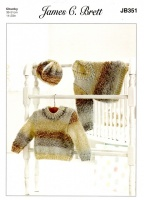 Knitting Pattern - James C Brett JB351 - Baby Marble Chunky - Sweaters & Hat