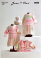 Knitting Pattern - James C Brett JB620 - Baby Marble DK - Cardigans & Sweater
