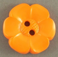 Flower Button - Orange - 22mm