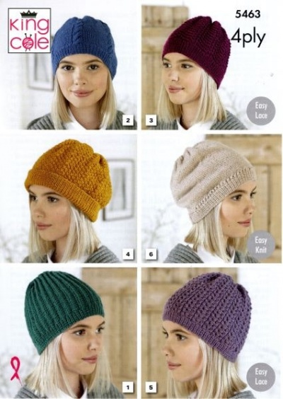 Knitting Pattern - King Cole 5463 - 4Ply - Ladies Hats