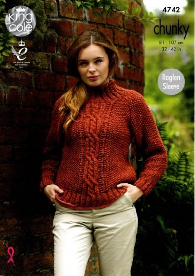 Knitting Pattern - King Cole 4742 - Chunky - Ladies Sweaters