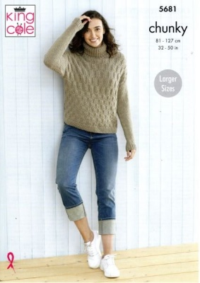 Knitting Pattern - King Cole 5681 - Subtle Drifter Chunky - Ladies Sweaters
