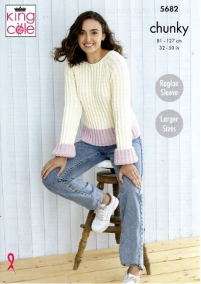 Knitting Pattern - King Cole 5682 - Subtle Drifter Chunky - Ladies Sweater & Cardigan