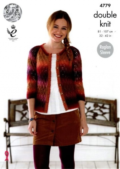 Knitting Pattern - King Cole 4779 - Riot DK - Ladies Sweater & Cardigan