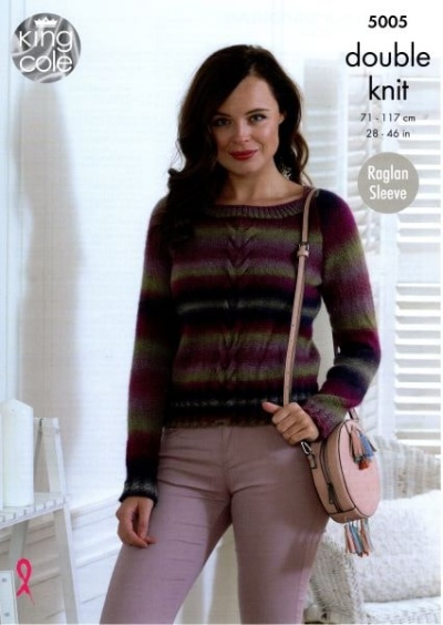 Knitting Pattern - King Cole 5005 - Riot DK - Ladies Sweater & Cardigan