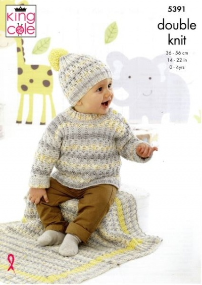 Knitting Pattern - King Cole 5391 - Drifter for Baby DK - Cardigan, Sweater, Hats, Blanket