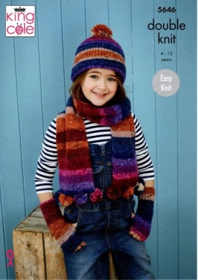 Knitting Pattern - King Cole 5646 - Bramble DK - Hats, Scarves, Mitts, Wrist Warmers