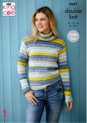 Knitting Pattern - King Cole 5647 - Bramble DK - Sweaters