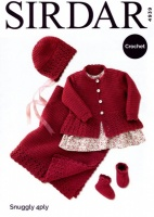 Crochet Pattern - Sirdar 4939 - Snuggly 4 Ply - Coat, Hat, Bootees & Blanket