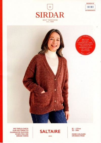 Knitting Pattern - Sirdar 10181 - Saltaire Aran - Ladies Cardigan