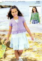 Knitting Pattern - Sirdar 2382 - Supersoft Aran - Girl's Cardies