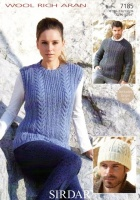 Knitting Pattern - Sirdar 7185 - Wool Rich Aran - Tank, Sweater & Hat