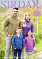 Knitting Pattern - Sirdar 8105 - Harrap Tweed Chunky - Family Sweaters