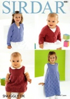 Knitting Pattern - Sirdar 4881 - Snuggly DK - Girls Cardigan and Pinafore