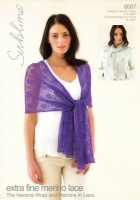 Knitting Pattern - Sublime 6087 - Extra Fine Merino Lace - Heroine Wrap