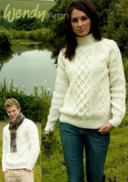 Knitting Pattern - Wendy 5587 - Aran with Wool - His & Hers Double Cable Sweater