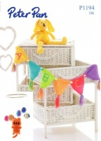 Knitting Pattern - Peter Pan P1194 - DK - Tweety Bird Mobile, Rabbit & Bunting