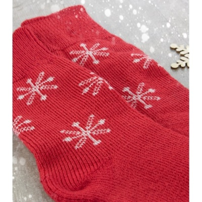 Socks - Bluefaced Leicester - Christmas Snowflake - Red