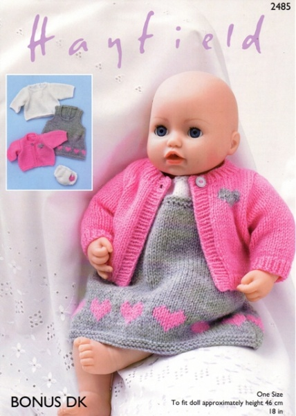 10dc047be0588 Cottontail Crafts - Knitting Pattern 2485 - Baby Doll s Pinafore ...