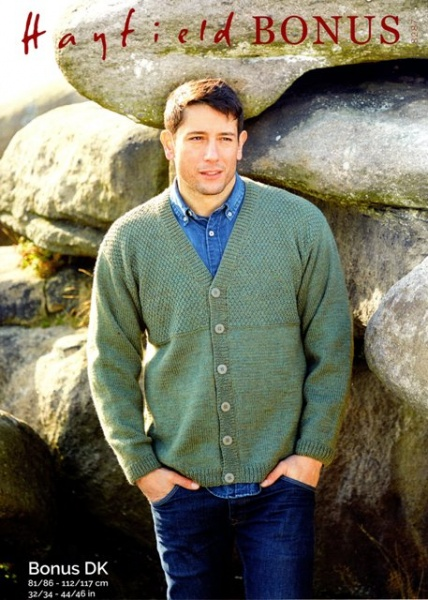 ca800d8b0dd25 Cottontail Crafts - Knitting Pattern 8287 - Mens V-neck Cardigan in ...