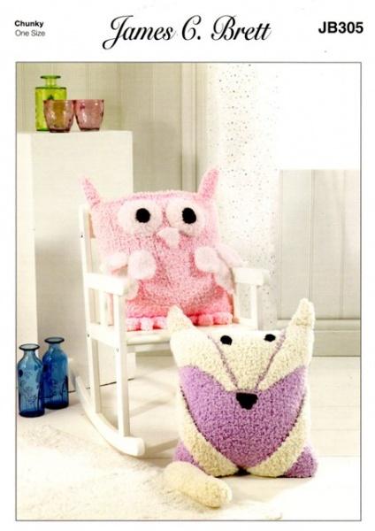 Knitting Pattern - James C Brett JB305 - Fluffy Chunky - Cushions